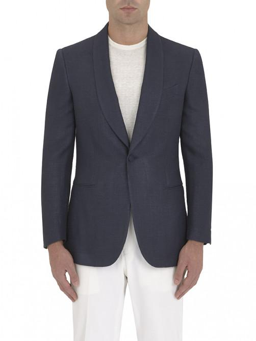 NAVY SILK BASKETWEAVE DINNER JACKET