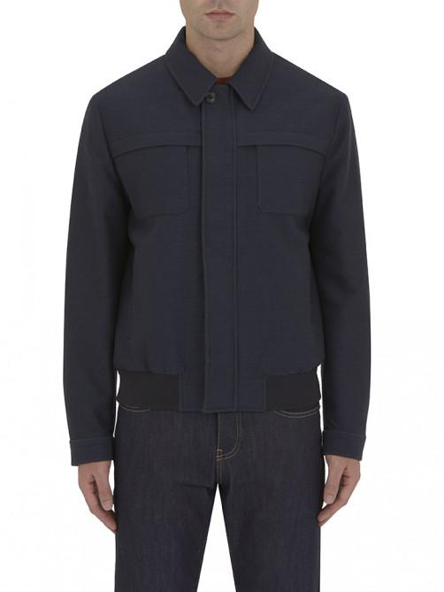 NAVY WOOL AND COTTON BLOUSON