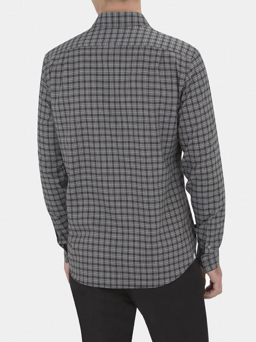 COTTON MELANGE CHECK CASUAL SHIRT