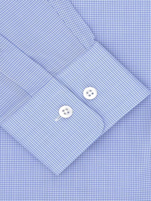 SKY BLUE FINE GRID CHECK SHIRT