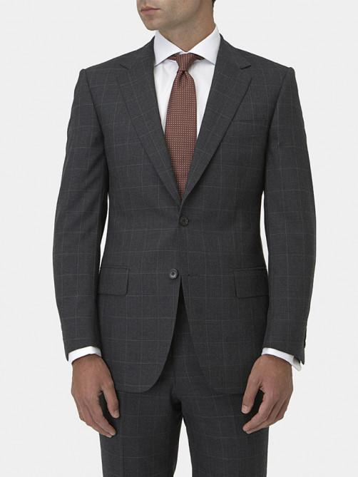 CHARCOAL WINDOWPANE CHECK WOOL SUIT