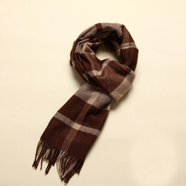 Man Wool Beige&Brown Rectangle Scarf