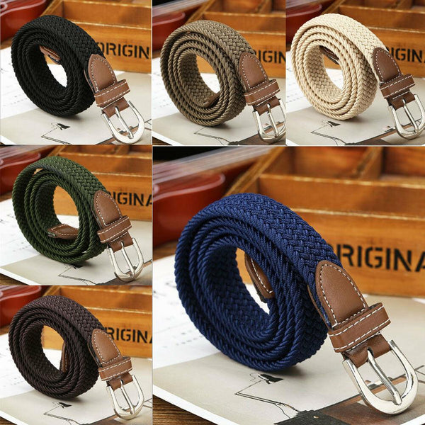 Men Elastic Fabric Woven Casual Belt