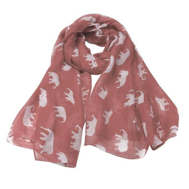 Long Cute Elephant Print Scarf Wraps Shawl Casual
