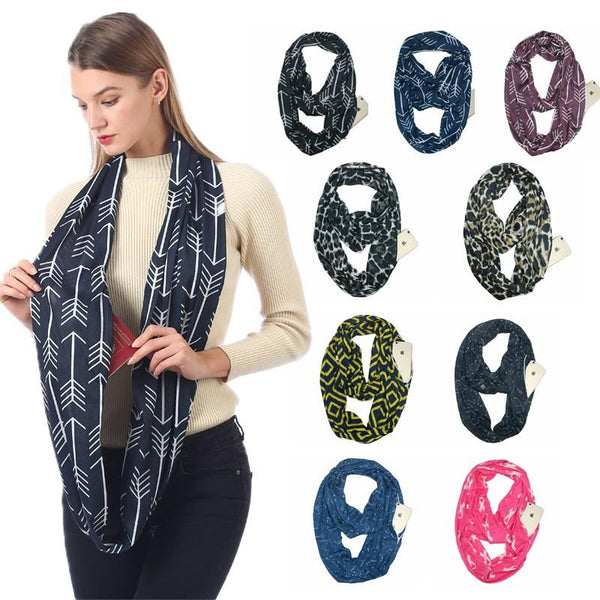 Convertible Infinity Scarf with Pocket Pattern