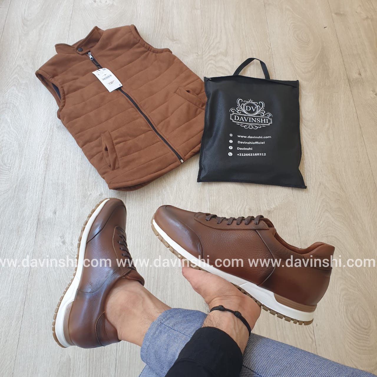 Pack Gilet Unicolore à Col Montant&Chaussures confortable- tabac