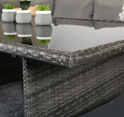 CHARLOTTE CORNER DINING SOFA WITH FIXED GLASS TOP TABLE – GREY WEAVE – CHAR0156 - Modern Rattan