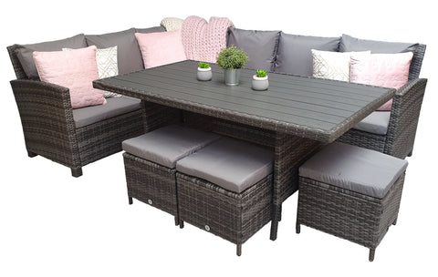 CHARLOTTE CORNER DINING SOFA WITH FIXED POLY WOOD TABLE – GREY WEAVE – CHAR0308 - Modern Rattan