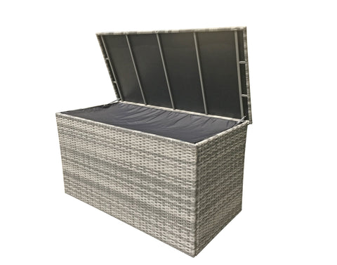 CUSHION STORAGE BOX IN GREY - Modern Rattan