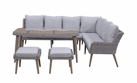 DANIELLE corner sofa with dining table & 2 ottomans – DANI0347 - Modern Rattan