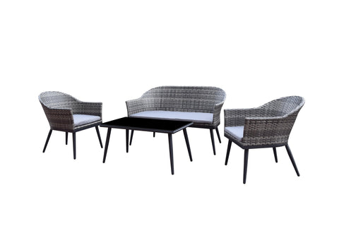 Della 4 seat sofa set with coffee table in grey weave - DELL0342 - Modern Rattan