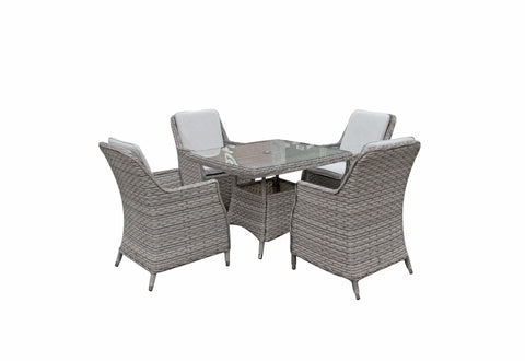 Edwina 100*100cm square dining table in 3 wicker special grey weave - EDWI0294 - Modern Rattan