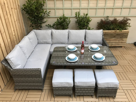 EDWINA Seven seater corner dining in Multi Grey weave with Pale Grey cushions - EDWI0108 - Modern Rattan