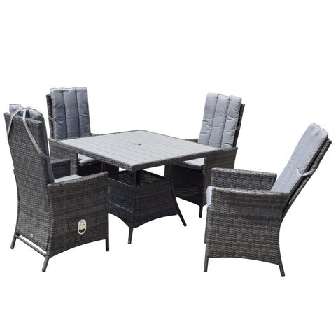 EMILY 4 Seat Square dining set with Polywood Top - Modern Rattan