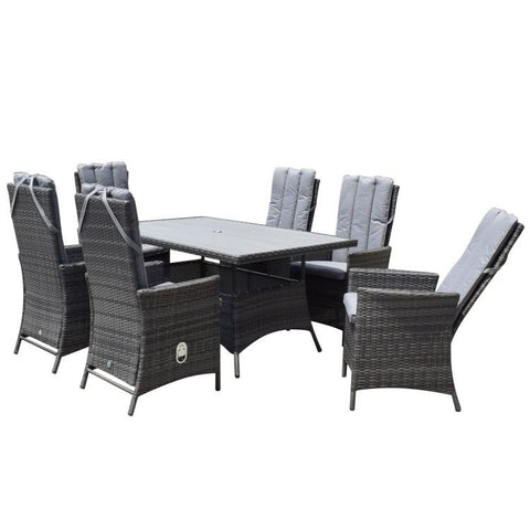EMILY 6 Seater Rectangular dining Set with Polywood top - Modern Rattan