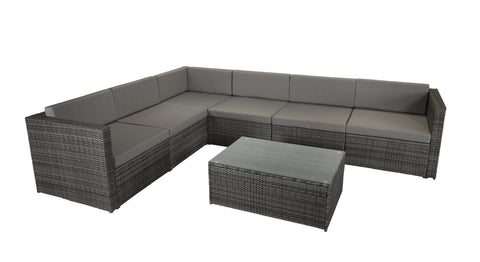 Evie modular sofa set in Mixed Grey with Steel frame - EVIE0287 - Modern Rattan