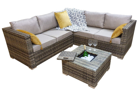 GEORGIA CORNER SOFA SET – BROWN WITH ICE BUCKET – GEOR0312 - Modern Rattan