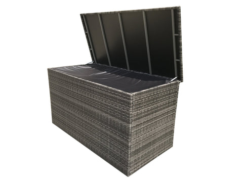 Large & Medium cushion box in 8mm flat grey weave - Modern Rattan