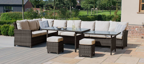 Maze Rattan - Extending Kingston Corner Dining Set / Brown - Modern Rattan