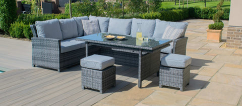 Maze Rattan - Extending Kingston Corner Dining Set / Grey - Modern Rattan