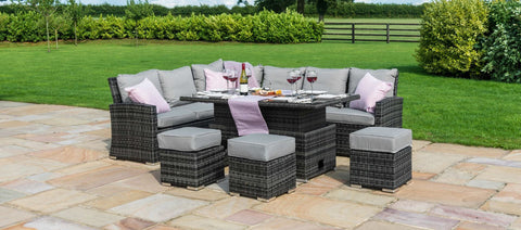 Maze Rattan - Kingston Corner Deluxe with Rising Table / Grey - Modern Rattan