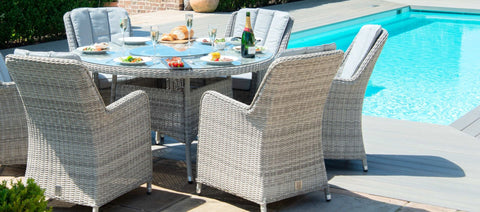 Maze Rattan - Oxford 6 Seat Round Fire Pit Dining Set with Venice Chairs and Lazy Susan - Modern Rattan