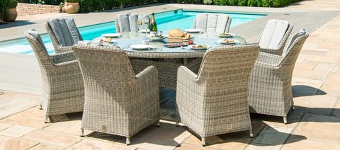 Maze Rattan - Oxford 8 Seat Round Fire Pit Dining Set with Venice Chairs and Lazy Susan - Modern Rattan