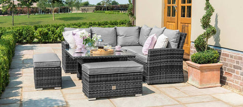 Maze Rattan - Richmond Corner Bench Set with Rising Table / Grey - Modern Rattan