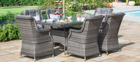 Maze Rattan - Victoria 6 Seat Rectangle Dining Set with Square Chairs - Modern Rattan