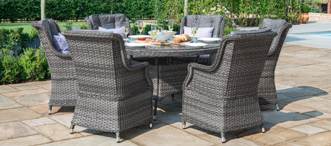 Maze Rattan - Victoria 6 Seat Round Dining Set with Square Chairs - Modern Rattan