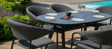 Pebble 6 Seat Oval Dining Set / Charcoal - Modern Rattan
