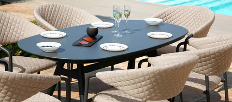 Pebble 6 Seat Oval Dining Set / Taupe - Modern Rattan