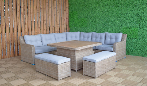 Signature Weave Garden Furniture Elizabeth Corner Dining Set with Rising Table & Ottomans - Modern Rattan