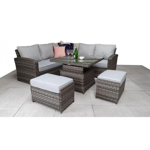 Signature Weave Garden Furniture Grace Grey Corner Sofa Set with Lift Table & Ottomans - Modern Rattan