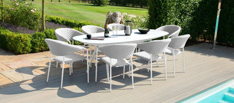 Zest 8 Seat Oval Dining Set / Lead Chine - Modern Rattan