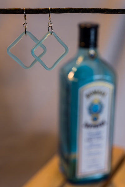 Bombay Sapphire Bottle Square Earrings