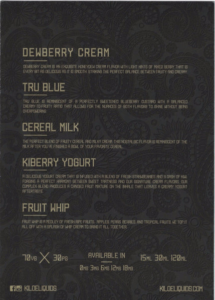 *REQUEST - Kilo - Flavor Menu