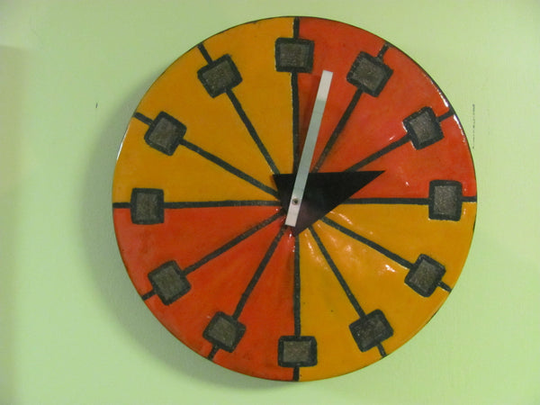 "Clock: SOLD   Howard Miller Ceramic ""Pizza"" Wall Clock by George Nelson and Aldo Londi for Bitossi"