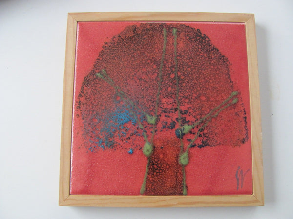 Ceramics: Danish Tile Plaque of Tree