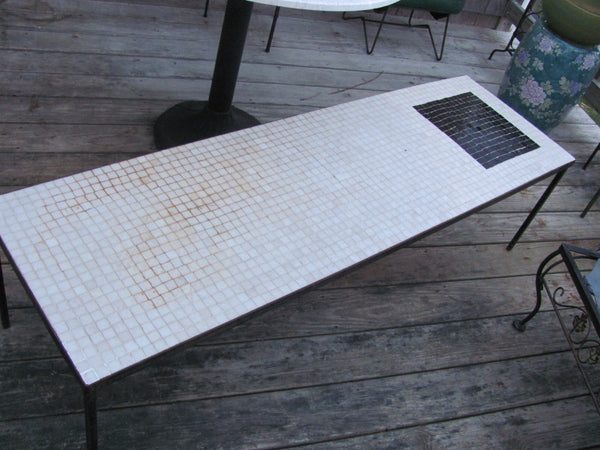 Table: Black and White Mosaic Tile Top Table, Iron Frame - SOLD