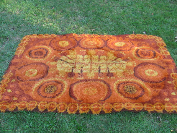 RUG: Orange Rya rug Belgium