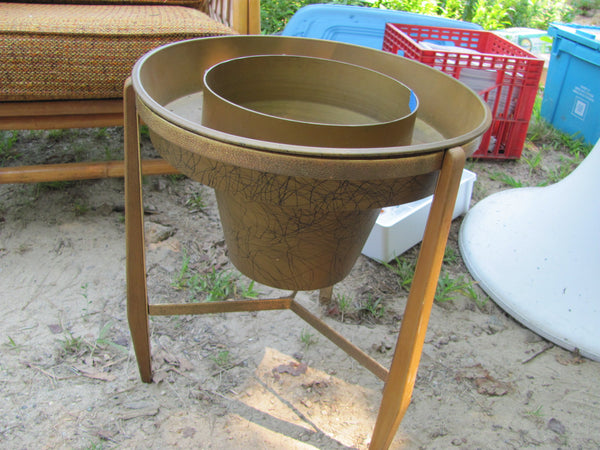 Eames Era, Vintage Mid Century Plastic and Wood Planter  - SOLD