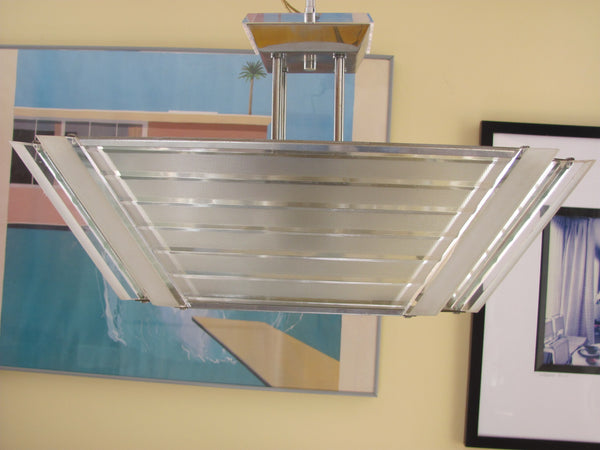 Lighting: Stainless & Lucite Ceiling Fixture by Fredrick Ramond