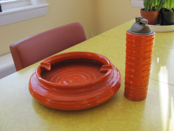 Ceramic: Rosenthal Netter Orange Lighter and Ashtray