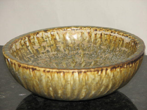 "Ceramics: Gunnar Nylund 7"" Owls Feather Glaze bowl For Rorstrand"