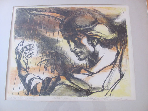 "Print: Umberto Romano Lithograph in Color, "" David and the Harp"" Signed and Numbered"