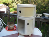 Kartell Round White Storage Cabinet on Casters by Anna Castelli, Vintage.  Free Domestic Shipping