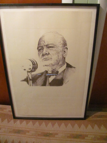Print: Winston Churchill Lithograph by Curtis Hooper signed by SARAH CHURCHILL
