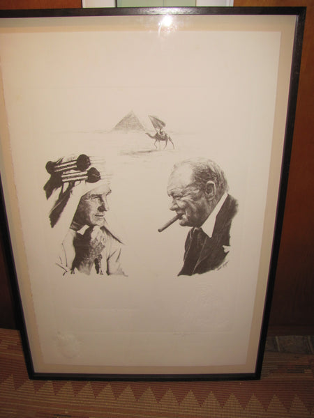Print: Lithograph of Winston Churchill by Curtis Hooper signed by Sarah Churchill Embossed