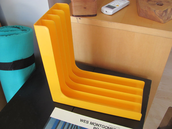 SOLD - Yellow LP Record Rack by Gustavsberg designed by Sven Jonson Facett 1960s
